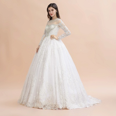 Glamorous Long Sleeve Beads White/Ivory Lace Appliques Wedding Dress_6