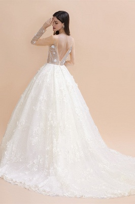 Charming Floral Lace Appliques Wedding Dress Gorgeous White Beads Bridal Gown_2