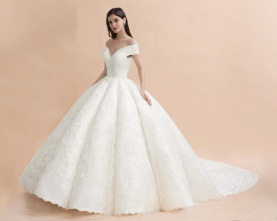 Off Shoulder Floor Length Bridal Gowns Lace Appliques Chapel Train Wedding Dress_8