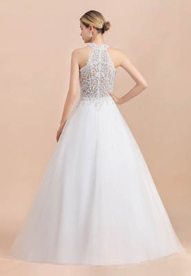 Gorgeous Halter Rhinstones Wedding Dress White Lace Appliques Tulle Garden Bridal Gowna_3