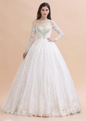 Glamorous Long Sleeve Beads White/Ivory Lace Appliques Wedding Dress_3