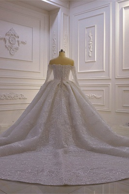 Luxury Ball Gown Long Sleeves 3D Lace Sweetheart Long Wedding Dresses_3