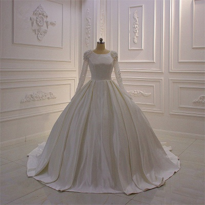 Ivory Long Sleeves Jewel Ruffles Flowers Bedaings Wedding dress_6