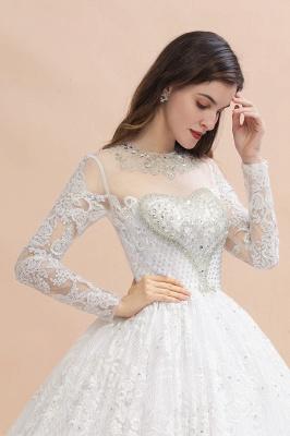 Glamorous Long Sleeve Beads White/Ivory Lace Appliques Wedding Dress_10