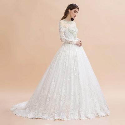 Glamorous Long Sleeve Beads White/Ivory Lace Appliques Wedding Dress_9