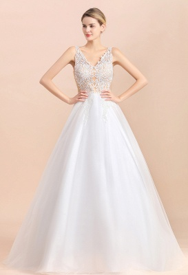 Elegant V-Neck Floral Lace A-line Wedding Dress Beach Sleeveless Tulle Church Dress_7
