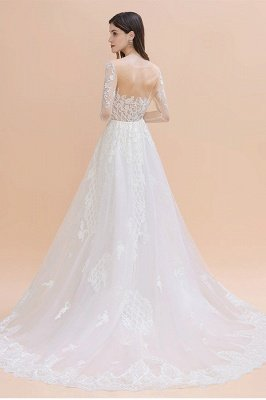 Luxury Beaded Lace Mermaid Wedding Dresses Tulle Appliques Bride Dresses with Detachable Train_2