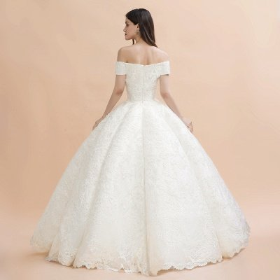 Elegante vestido de novia con apliques de encaje blanco fuera del hombro_10
