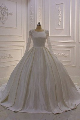 Ivory Long Sleeves Jewel Ruffles Flowers Bedaings Wedding dress