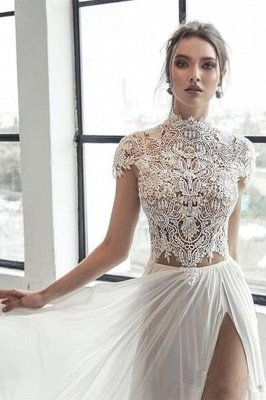 Col haut Manches courtes Robe de mariée en mousseline ivoire fendue | Robe de mariée longue élégante_4