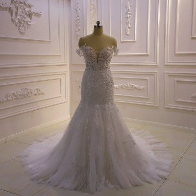 Gorgeous White 3D Lace applique Off-the-Shoulder Mermaid Bridal Gowns