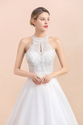 Elegant White Beaded Halter Ball Gown Lace Wedding Dress