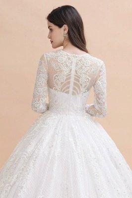 Glamorous Long Sleeve Beads White/Ivory Lace Appliques Wedding Dress_2