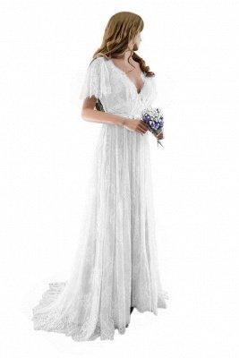 Unique robe de mariée bohème en dentelle à manches demi | Robes de mariée chic Summer Beach_2