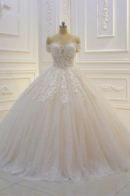 Off-the-shoulder Tulle Lace Appliques Sequined Wedding Dress
