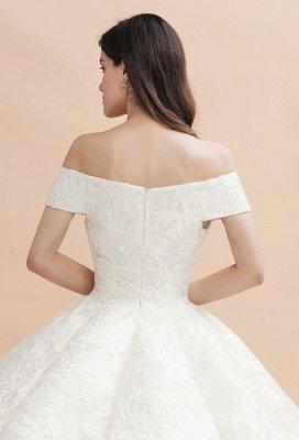 Elegante vestido de novia con apliques de encaje blanco fuera del hombro_11