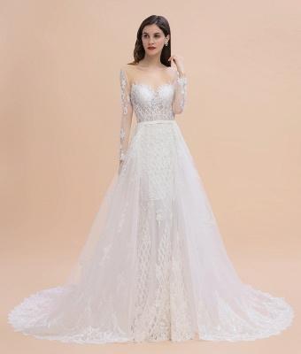 Luxus Perlen Spitze Meerjungfrau Brautkleider Tüll Appliques Brautkleider mit abnehmbaren Zug_10