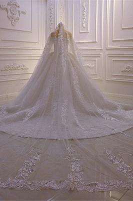Vestido de bola de lujo Mangas largas Cariño de encaje 3D Vestidos de novia largos_5