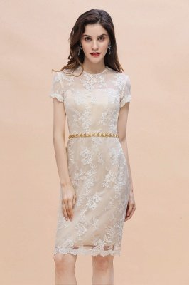 Champange Illusion neck Lace Beadings Star belt Vestido de madrina