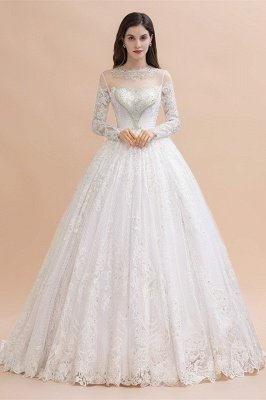 Glamorous Long Sleeve Beads White/Ivory Lace Appliques Wedding Dress