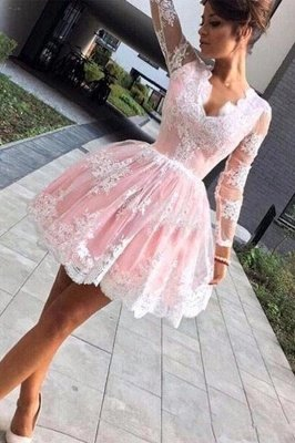 Long sleeves Lace Pink Back to school V-neck Puffy Homecoming Dress_1