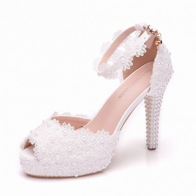 Lace Pearl White High Heel Wedding Shoes