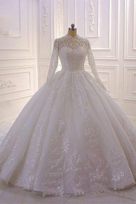 Sparkle Lace Ball Gown High Neck Tull Long Sleeves Wedding Dress_1