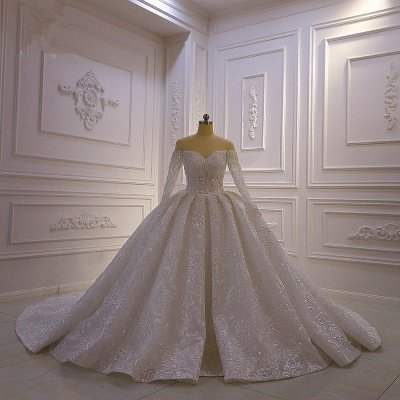 Luxury Ball Gown Long Sleeves 3D Lace Sweetheart Long Wedding Dresses