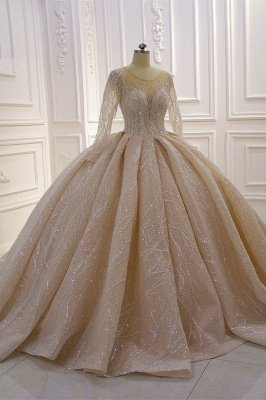 Shiny Ball Gown Tulle Jewel Long Sleeves Ruffles Wedding Dress_2