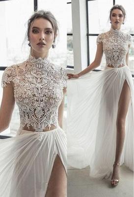 Col haut Manches courtes Robe de mariée en mousseline ivoire fendue | Robe de mariée longue élégante_3