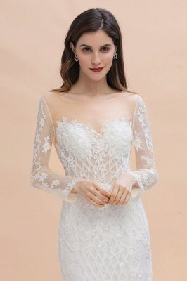 Luxus Perlen Spitze Meerjungfrau Brautkleider Tüll Appliques Brautkleider mit abnehmbaren Zug_8