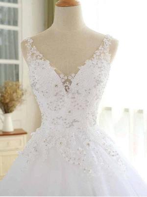 Vestidos de novia con cuentas de encaje de lujo 2021 Correas con cuello en V Vestido largo de baile Vestido de novia para fiesta de boda_5
