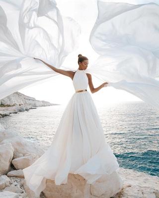 Halter White Chiffon Beach Wedding Dress Long Simple Bridal Dress with Split_2