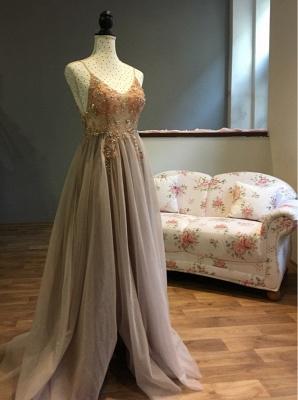 Vestidos de baile de cristal namorado com alças de tule espaguete vestido de noite dividido lado_14