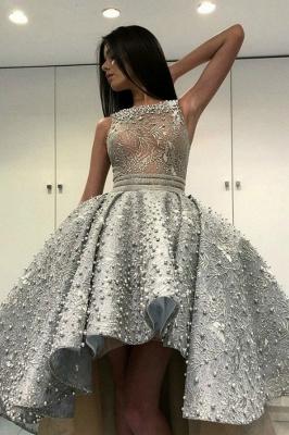 Gorgeous Sleeveless  Satin Short Hi-Lo Cocktail Dress Homecoming Dress_1