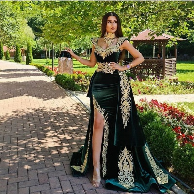 Dark Green Velvet Mermaid Evening Dress with Gold Lace appliques_3