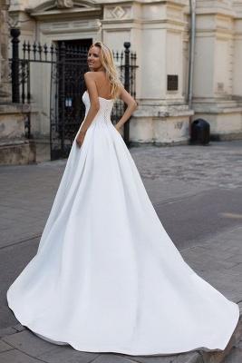 Simple sin tirantes blanco una línea de cremallera hasta una línea de vestido de novia princesa_2