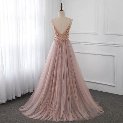 Vestidos de baile de cristal namorado com alças de tule espaguete vestido de noite dividido lado_9