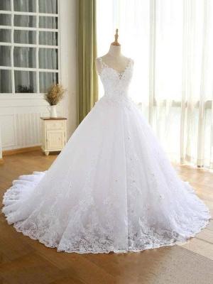 Vestidos de novia con cuentas de encaje de lujo 2021 Correas con cuello en V Vestido largo de baile Vestido de novia para fiesta de boda_3