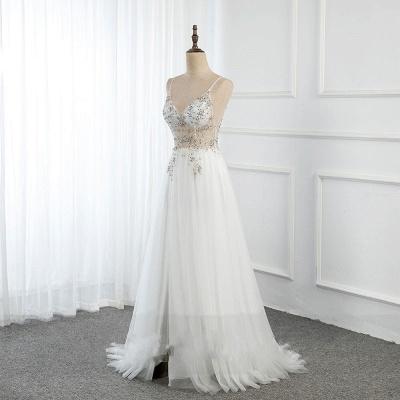 Vestidos de baile de cristal namorado com alças de tule espaguete vestido de noite dividido lado_2