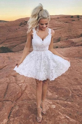 Cute Whote Lace Short Homecoming Dress V-Neck Sleeveless Cocktail Dress_2
