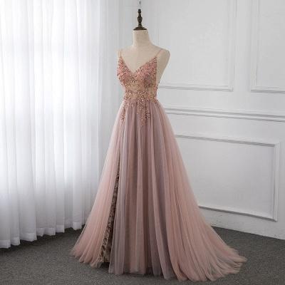 Vestidos de baile de cristal namorado com alças de tule espaguete vestido de noite dividido lado_1