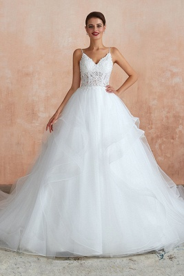 Camille | White Ball Gown Wedding Dress with Chapel Train, Spaghetti Strap See-through Lace up Bridal Gowns for Sale_2