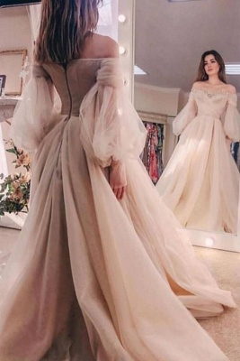 Off-the-shoulder Beads puff sleeve Tulle Ball Gown Evening Dress_1