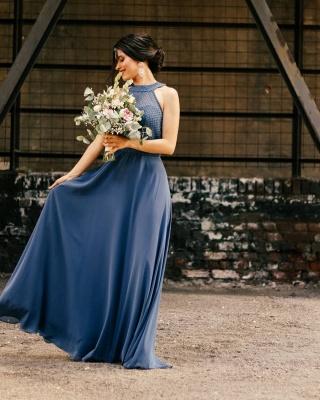 Halter Chiffon Long Wedding Party Dress Evening Swing Dress_2