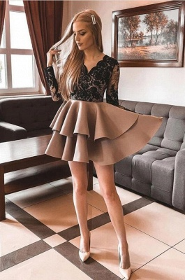 Smart Long Sleeves Two Layers Short Party Dress Cocktail Dress_2