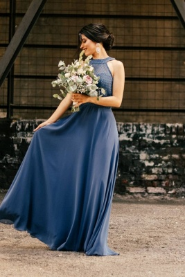 Halter Chiffon Long Wedding Party Dress Evening Swing Dress_1