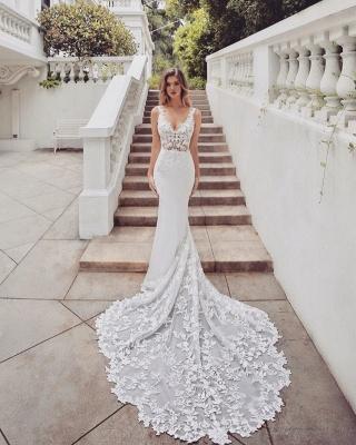 Gorgeous Train Sleeveless V-neck Lace mermaid wedding dresses_2