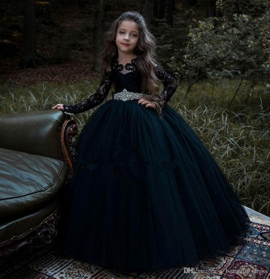 Schönes schwarzes Blumenmädchenkleid mit langen Ärmeln und Kristallgürtel_2