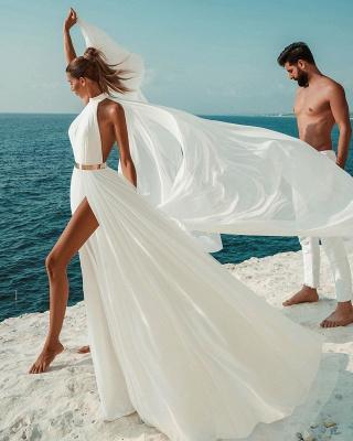 Halter White Chiffon Beach Wedding Dress Long Simple Bridal Dress with Split_6